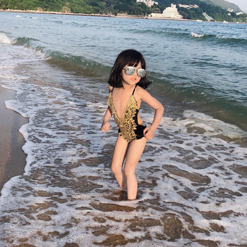 2019 夏季新款性感显瘦女孩连体游泳衣宝宝泳衣韩版女童婴儿泳装