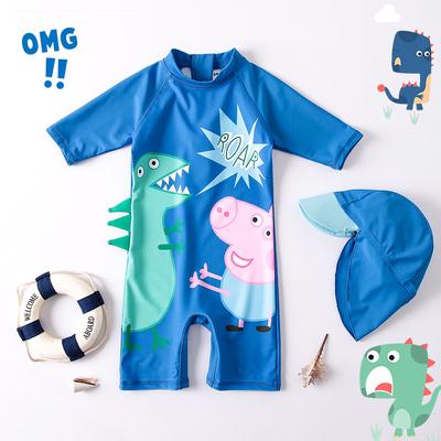 儿童泳衣男童可爱卡通猪连体宝宝婴儿游泳衣恐龙温泉造型泳衣韩国