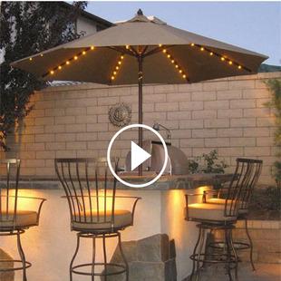 户外遮阳伞露台桌椅太阳能LED灯庭院阳台大号花园罗马伞室外休闲