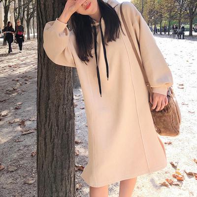 大码秋装女胖mm2018新款卫衣连衣裙中长款胖妹妹韩版打底衫200斤