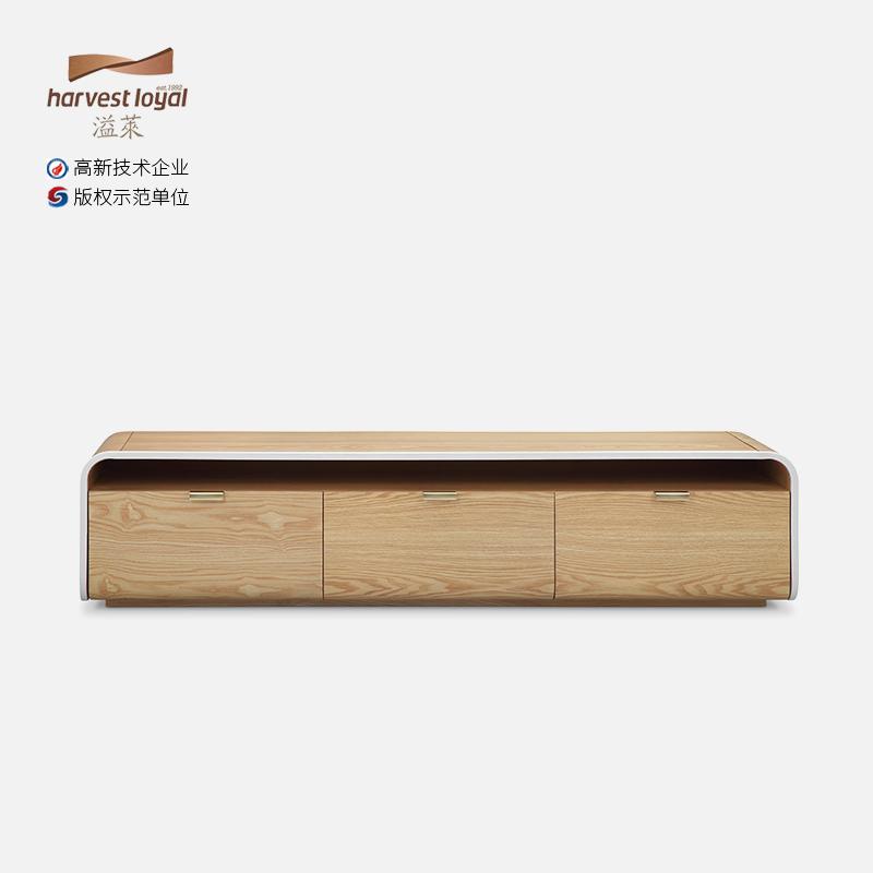 溢莱意大利原创设计新品FLAMINGO系列创意可伸缩水曲柳实木电视柜