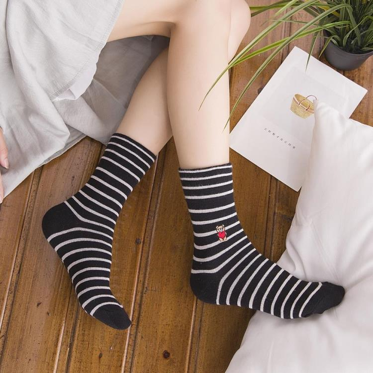 春秋女士中筒袜 韩版翻边条纹松口女短袜 纯棉韩国卡通学院风袜子