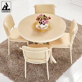 简约时尚钢化玻璃圆桌门店洽谈桌椅组合接待桌椅组合圆桌餐桌椅