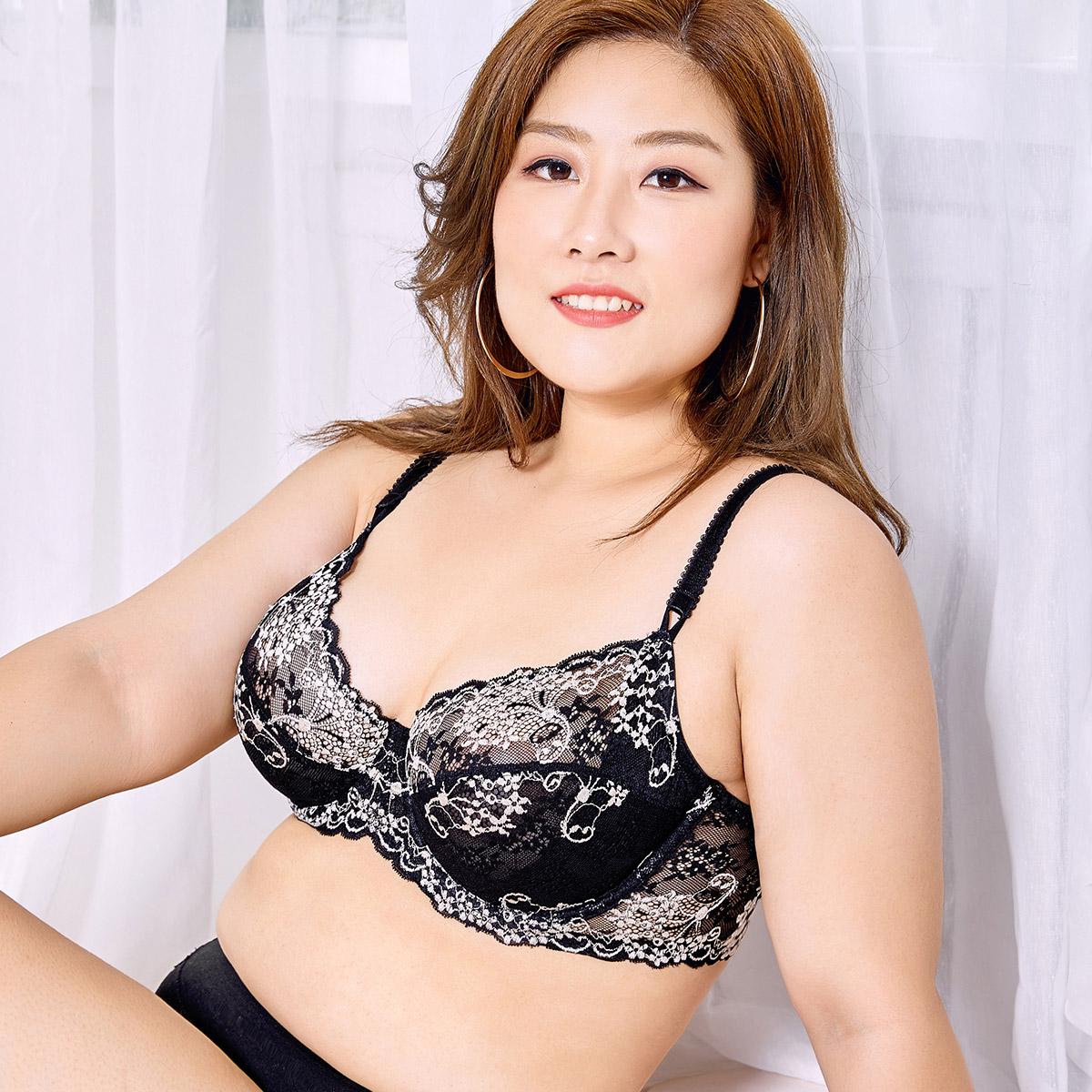超薄款性感大码文胸女胖mm防下垂大杯蕾丝大胸内衣全罩杯加肥加大