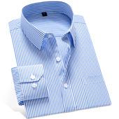易文男士长袖衬衫修身韩版商务衬衣职业正装条纹休闲大码工装寸衫