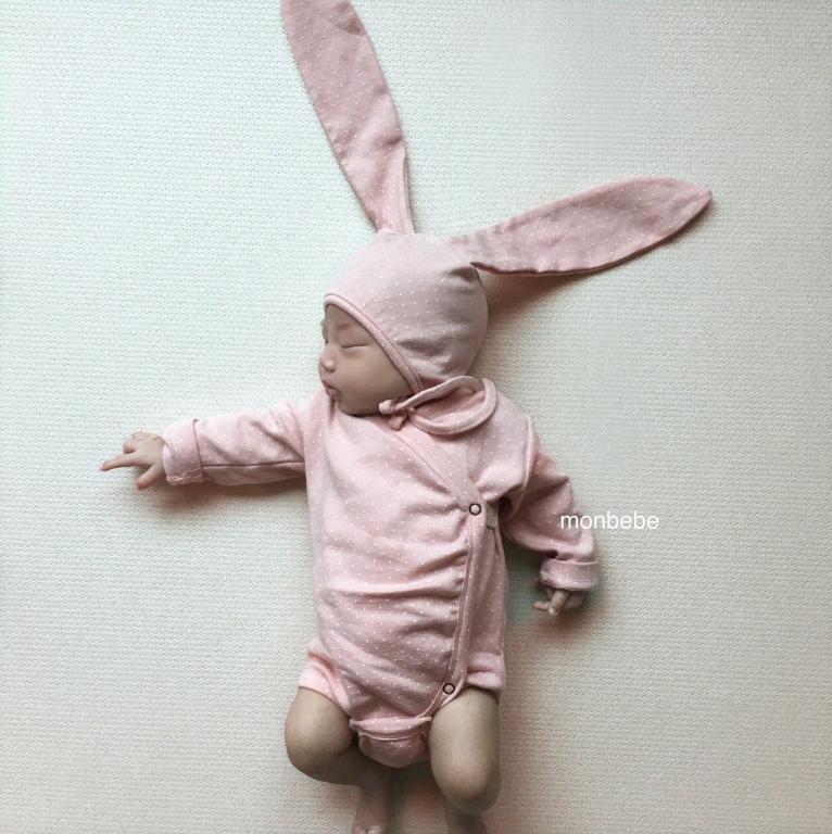 现货韩国正品新生婴儿可爱兔子连体衣满月百天宝宝萌萌的动物爬服