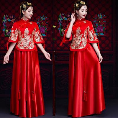 秀禾服新娘秋冬款红色中式结婚礼服大码孕妇胖MM200斤显瘦出阁服