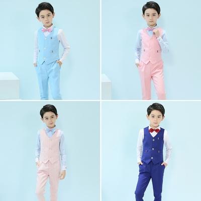儿童礼服男童西装马甲三件套装英伦风夏小孩花童主持人钢琴演出服