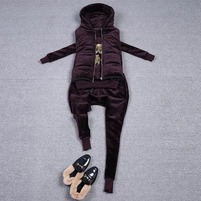 连帽羽绒棉马甲金丝绒卫衣女2017冬季欧洲站加厚保暖休闲三件套装