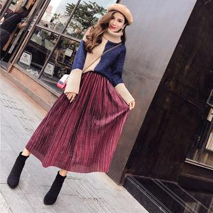 秋装女2018新款套装时尚甜美高领拼色长袖毛衣+高腰百褶半身长裙