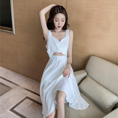 性感交叉v领镂空露脐吊带裙2019夏季新款女装韩版无袖高腰连衣裙
