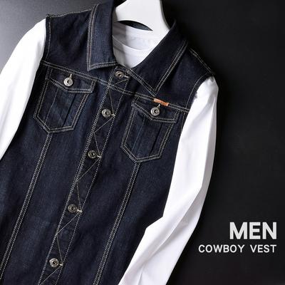 男士秋冬装翻领宽肩牛仔马甲 无袖宽松大码坎肩背心青年休闲外套