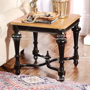 欧式新古典黑白做旧实木沙发边几角几美式法式乡村方茶几电话机