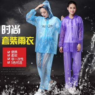 時尚透明套裝雨衣雨褲分體塑料韓版雨披男女成人防水戶外騎行eva