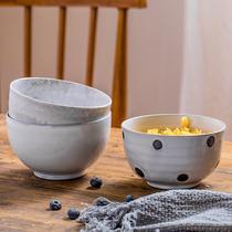 3个装创意饭碗汤碗菜碗波点碗特色粗陶创意陶瓷餐具家用酒店用具