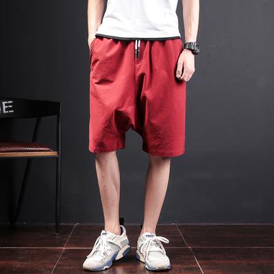 岽堂禾夏季潮男五分裤低档短裤纯色大码中裤青少年学生纯色跨裤子
