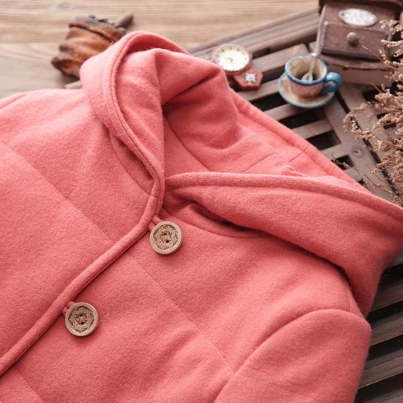 知了童装 新款棉服女童棉袄针织毛呢连帽加厚棉衣冬K4556
