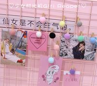 Girl heart ball decoration creative wood clip hemp rope photo storage clip ins net red background wall layout props