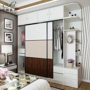 衣柜推拉门现代简约2门柜子卧室木质家具组装整体定制移门大衣橱