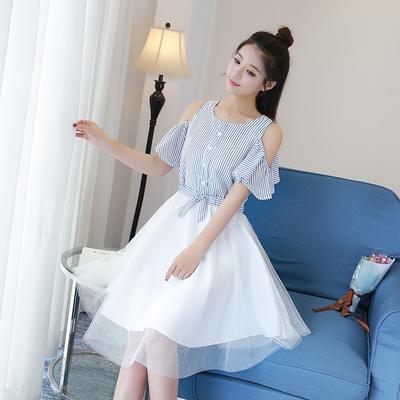 18夏装新款14初中学生12韩版女裙子13-15岁少女孩大童17连衣裙16