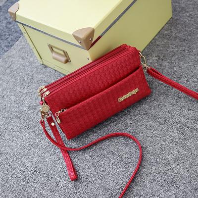 2108新款潮单肩小方包时尚musudan休闲中年女包手拿斜跨编织小包