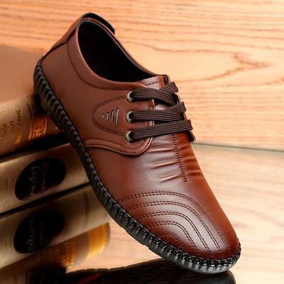 男士真皮个性休闲系带透气手工皮鞋中年秋鞋男鞋新款春季爸爸软底