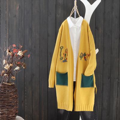 民族风针织衫女秋季新款中长款撞色长袖毛衣开衫宽松下摆开叉外套