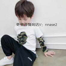 Cool and handsome camouflage wind came in the spring and autumn of 2019 pure cotton false two boys watermarking Japanese long sleeve T-shirt 3-4 years old