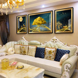 Living room decoration painting European painting sofa behind the hanging painting triple American wall painting sofa background wall atmospheric wall painting