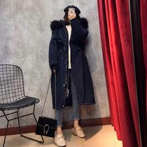 工装棉服女2018新款中长款冬季韩版宽松bf外套收腰过膝大毛领棉衣