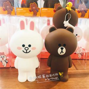 韩国采购LINE FRIENDS布朗熊硅胶笔袋立体创意笔盒文具盒收纳袋