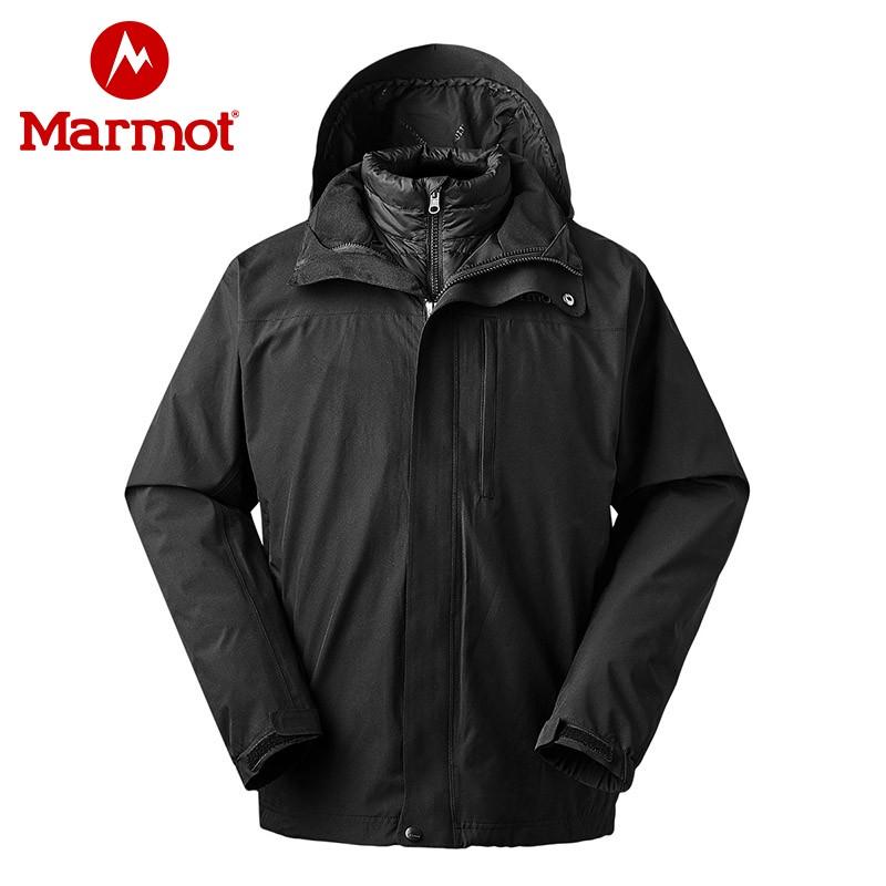marmot土拨鼠新款防水保暖男士冲锋衣羽绒三合一鹅绒内胆保暖外套