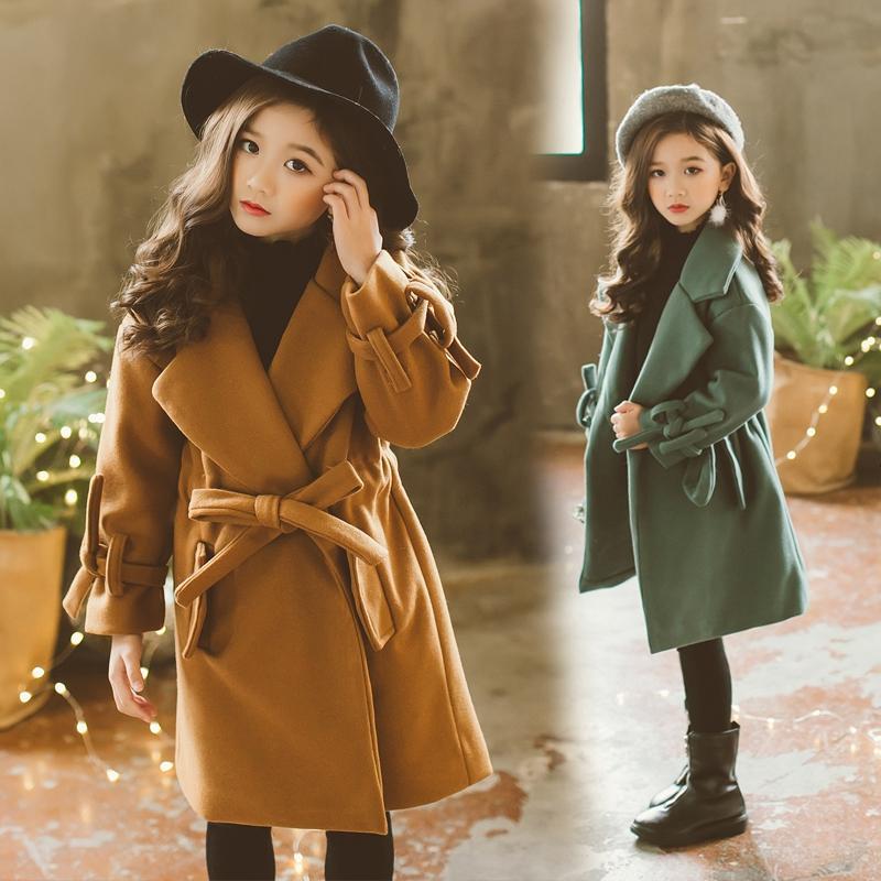 女童大衣毛呢外套韩版2017新款儿童中长款中大童冬装洋气呢子大衣
