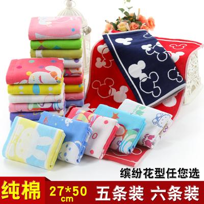【6条装】纯棉三层纱布毛巾儿童洗脸面巾全棉吸水小毛巾包邮