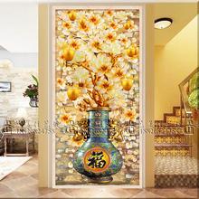 特价钢化艺术玻璃 玄关过道背景墙 屏风雕刻 金银箔工艺  金苹果