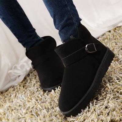 冬季雪地靴磨砂潮女鞋平底短筒短靴加绒加厚保暖棉鞋加绒学生女靴