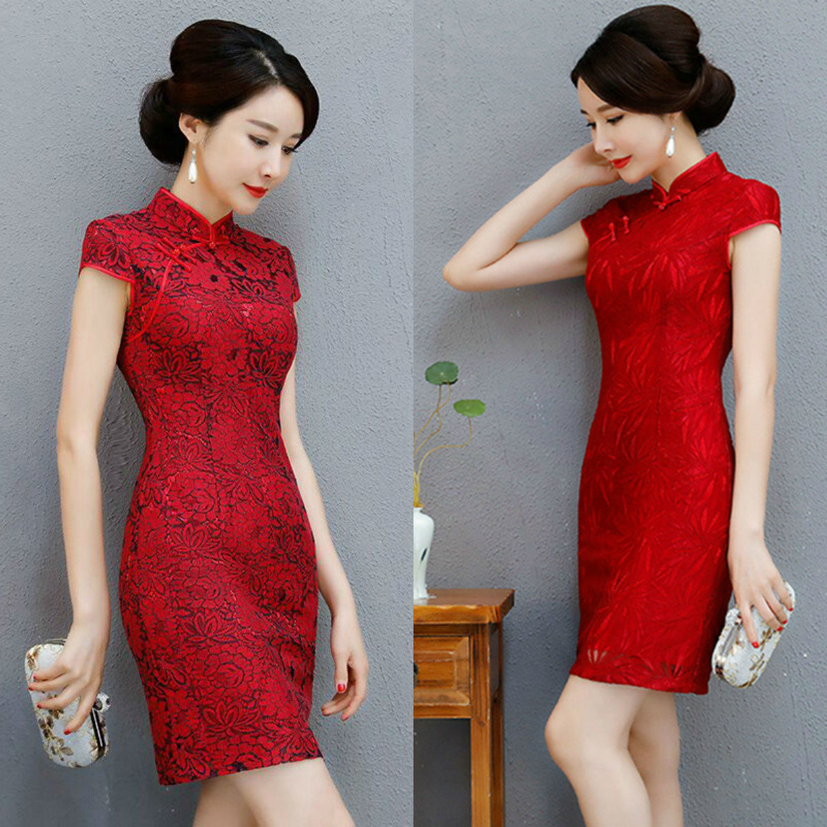 fashion mother loaded lace short-sleeved wedding cheongsam short paragraph dress red mother-in-law wedding
