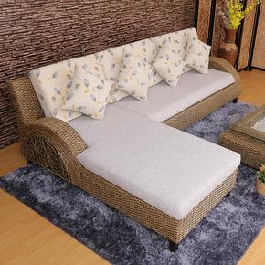 植物藤编沙发 客厅转角贵妃藤椅沙发组合 东南亚风格印尼藤艺沙发