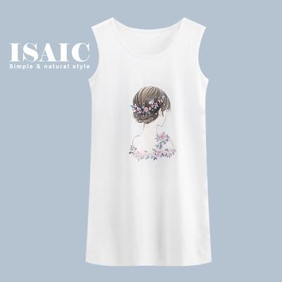 ISAIC 韩版印花加大码宽松显瘦百搭打底中长款吊带背心裙女夏外穿