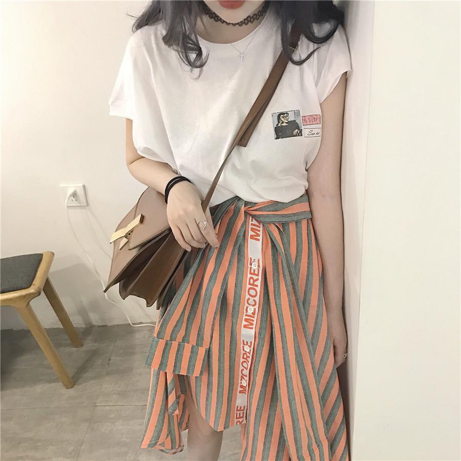韩国竖条纹裙