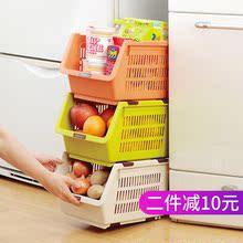 日本进口厨房置物架可叠加塑料收纳篮整理储物筐水果蔬菜收纳筐