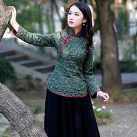 如意风旗袍上衣女冬季夹棉棉衣长袖保暖修身显瘦茶服中式唐装上衣