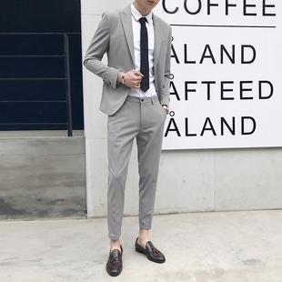 西服套装 修身 青年英伦小西装 韩版 职业商务休闲正装 男两件套潮 男士