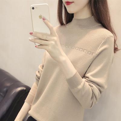 针织衫长袖女2018新款韩版宽松女装半高领套头毛衣打底衫秋冬百搭