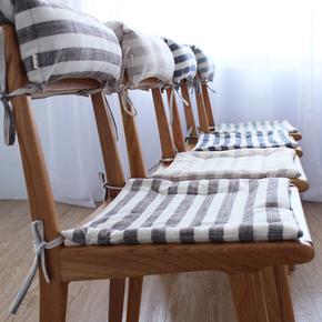 日式宽条纹棉麻四季椅子坐垫榻榻米薄款厚款餐椅椅垫多色坐垫布艺