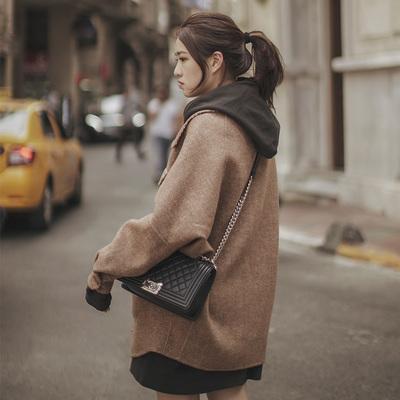 呢大衣女矮小个子羊毛双面呢宽松流行格子短款毛呢外套2018秋冬潮