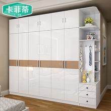 现代简约经济型五六门烤漆整体板式衣柜组装衣橱卧室家具组合
