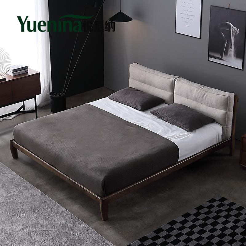 北欧全实木床 双人现代简约卧室1.5 1.8米ins风布艺可拆洗单人床