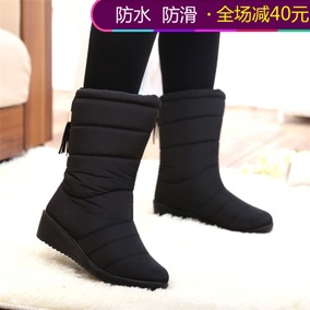 2018冬季新款中筒雪地靴防水加绒靴子加厚保暖棉鞋防滑坡跟女鞋