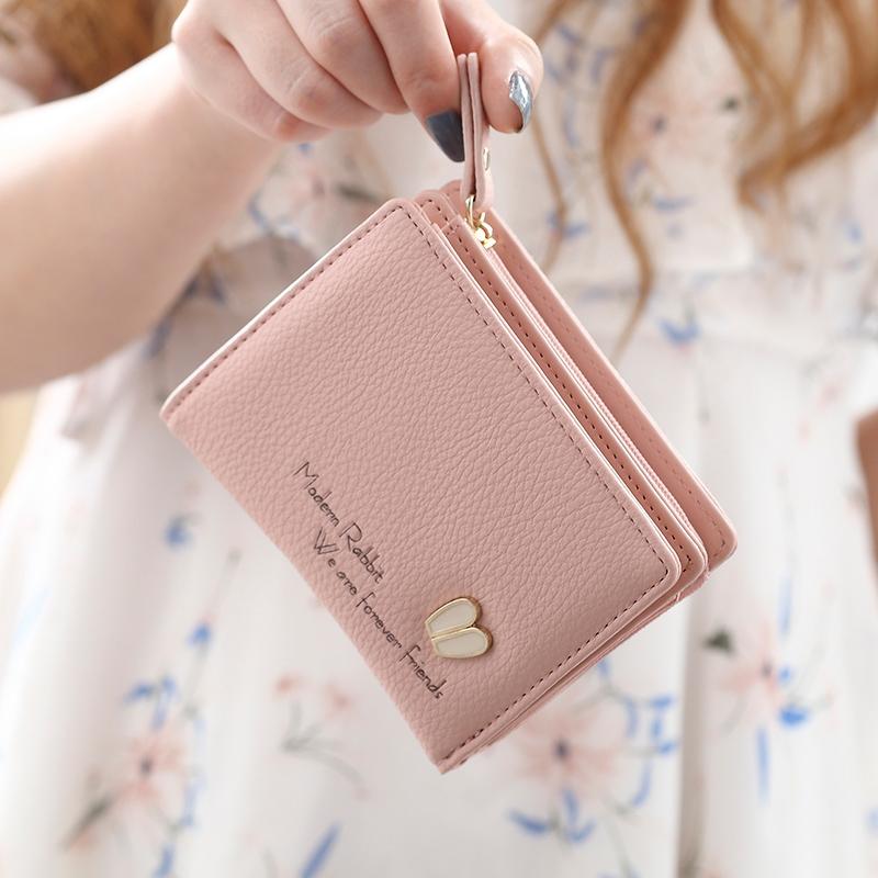 普瑞蒂可爱女士小钱包女短款日韩版小清新两折叠多功能学生零钱包图片
